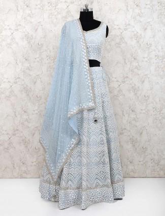 Sky blue georgette lehenga choli for party wear