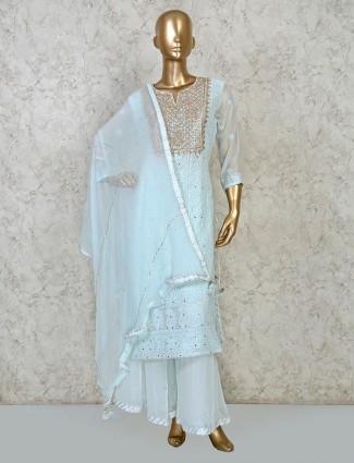 Sky blue georgette round neck punjabi palazzo suit