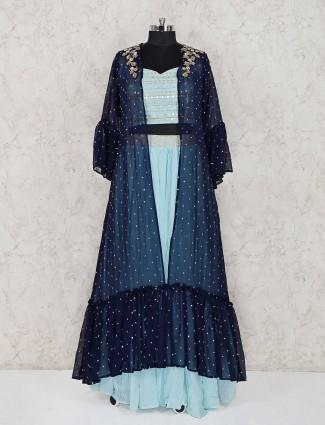 Sky blue jecket style georgette lehenga suit