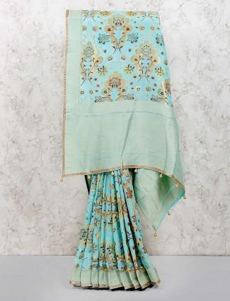 Sky blue muga silk saree for festivals