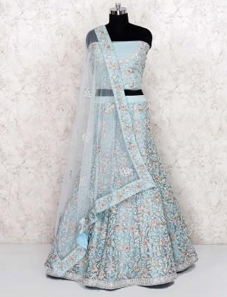 Sky blue net fabric pretty semi stitched lehenga choli