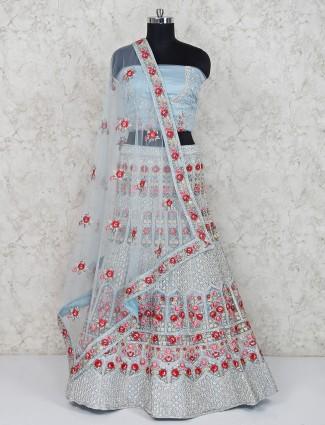 Sky blue net semi stitched lehenga choli