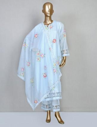 Sky blue printed cotton silk suit