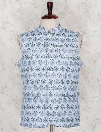 Sky blue printed terry rayon waistcoat