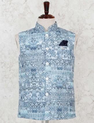 Sky blue printed welt pocket waistcoat