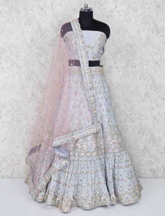 Sky blue raw silk bridal semi stitched lehenga choli