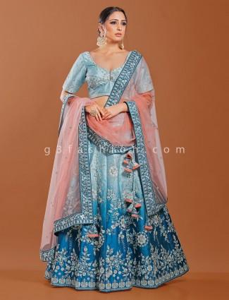 Sky blue raw silk wedding function lehenga choli