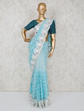 Sky blue saree in net