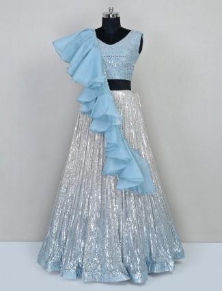 Sky blue silk lehenga for wedding session