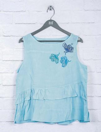 Sky blue solid cotton crop top