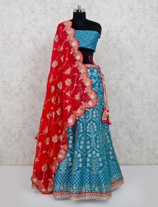Sky blue wedding wear lehenga in banarasi silk