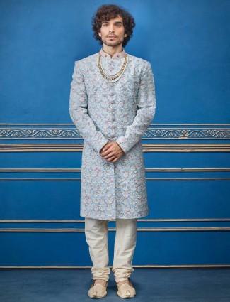 天蓝色婚纱Terry人造丝印度洋装
