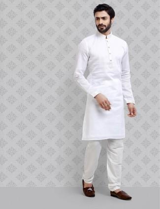 Sober look white color cotton kurta suit