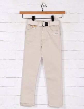 Solid beige denim jeans for boys
