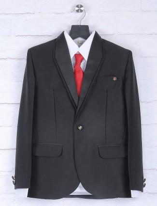 Solid black colored party wear coat suit
