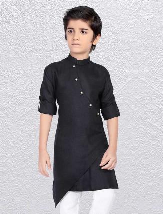 Solid black cotton short kurta
