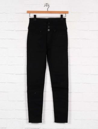 solid black hue high waist denim women jeans