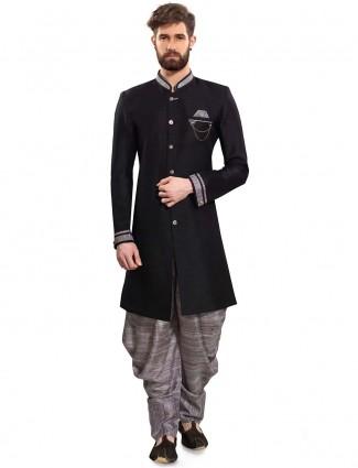 Solid black hue raw silk party wear semi indo western