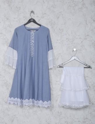 Solid blue cotton fabric kurti set