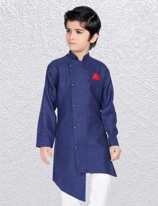 Solid blue cotton short kurta