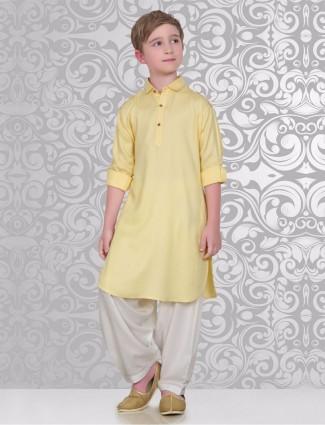 Solid cotton plain yellow festive wear pathani suit