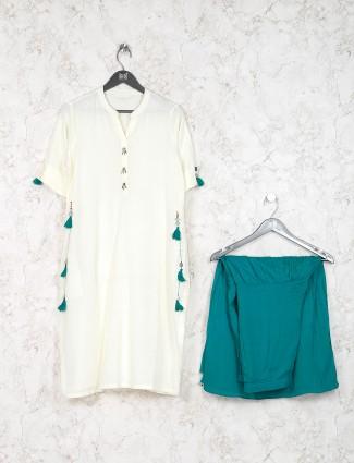 Solid cream hue cotton fabric kurti set