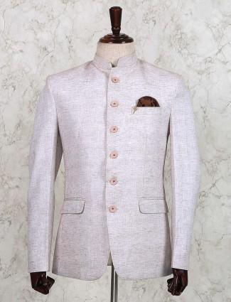 Solid cream hue cotton jute jodhpuri blazer