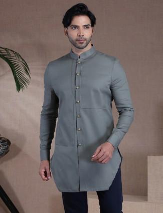 Solid dark grey mens kurta in cotton