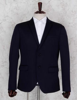 Solid dark navy hued terry rayon blazer
