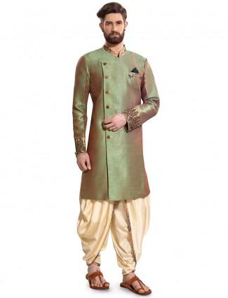Solid green hued raw silk party semi indo western