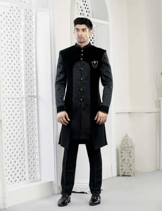 Solid grey and black hue velvet indo western
