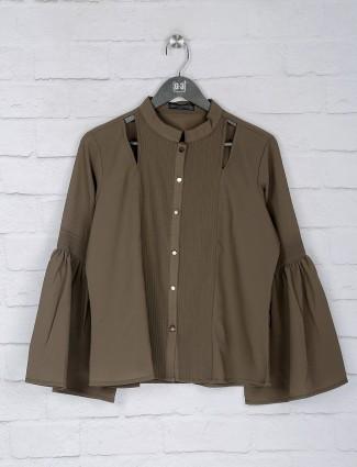 Solid grey color mega sleeves top
