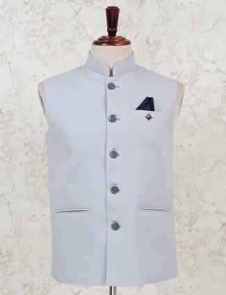 Solid grey cotton silk party wear waistcoat