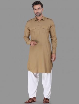 Solid khaki cotton rayon pathani suit