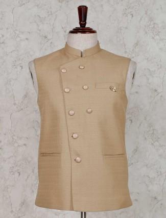 Solid khaki terry rayon waistcoat