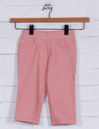 Solid peach cotton girls capri