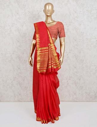 Solid red cotton silk festive saree