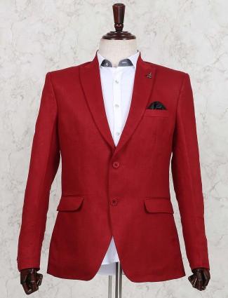 Solid red hue linen wedding wear blazer
