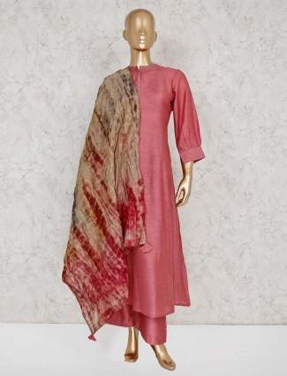 Solid rose pink cotton punjabi palazzo suit