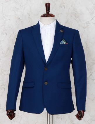 Solid royal blue color party wear blazer