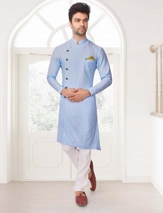 Solid sky blue festive cut style kurta suit