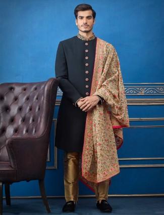 实心立领黑色毛圈人造丝印度西服