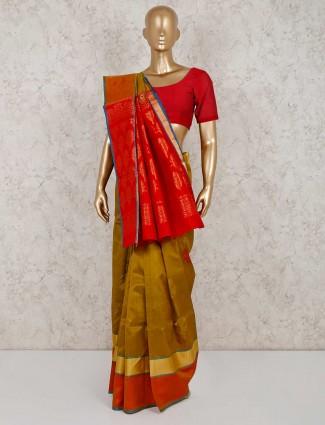 South silk olive festive wear saree