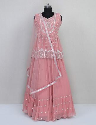 Special pink georgette wedding lehenga choli