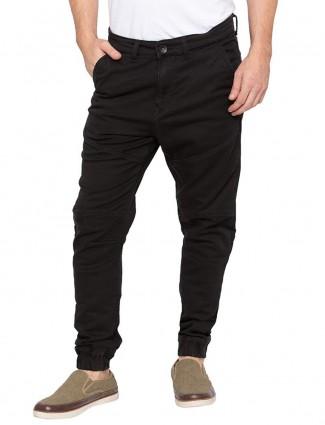 Spykar black colored slim fit joggers