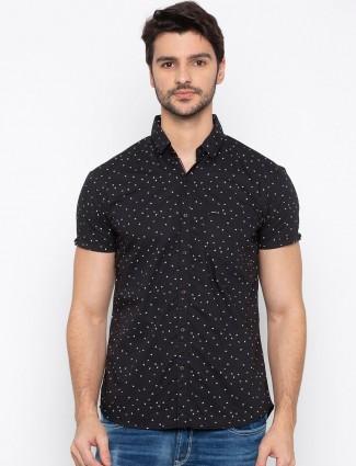Spykar printed cotton black shirt