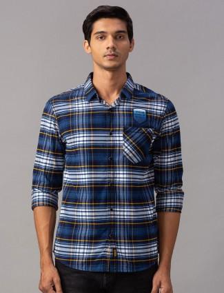 Spykar royal blue patch pocket casual shirt