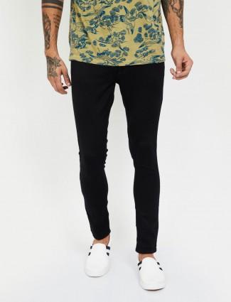 Spykar solid black super skinny jeans