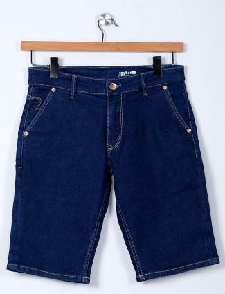 Spykar solid blue denim shorts