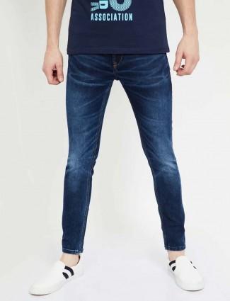 Spykar solid navy slim fit jeans